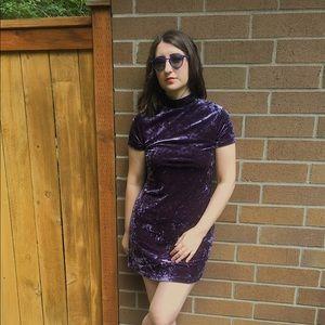 PURPLE CRUSHED VELVET/VELOUR DRESS